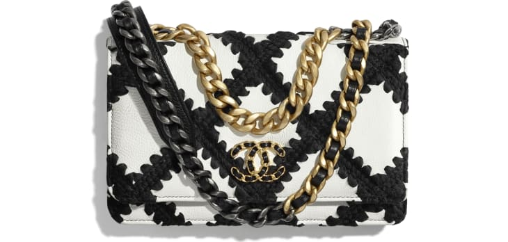 image 1 - CHANEL 19 Wallet on Chain - Calfskin, Crochet, Gold-Tone, Silver-Tone & Ruthenium-Finish Metal - White & Black
