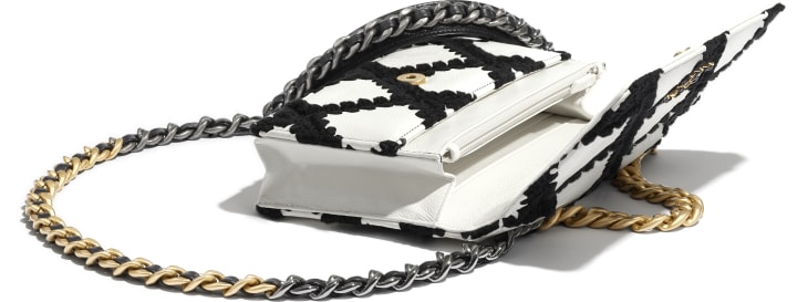 image 4 - CHANEL 19 Wallet on Chain - Calfskin, Crochet, Gold-Tone, Silver-Tone & Ruthenium-Finish Metal - White & Black