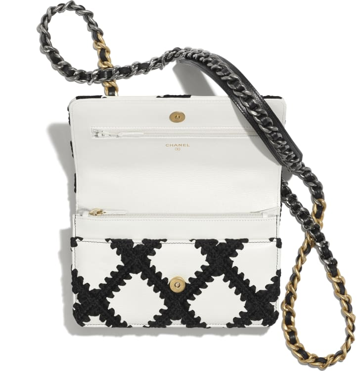 image 3 - CHANEL 19 Wallet on Chain - Calfskin, Crochet, Gold-Tone, Silver-Tone & Ruthenium-Finish Metal - White & Black