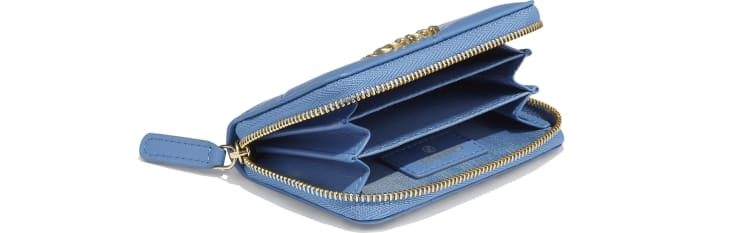 image 4 -  CHANEL 19 Zipped Coin Purse - Lambskin, Gold-Tone, Silver-Tone & Ruthenium-Finish Metal - Blue