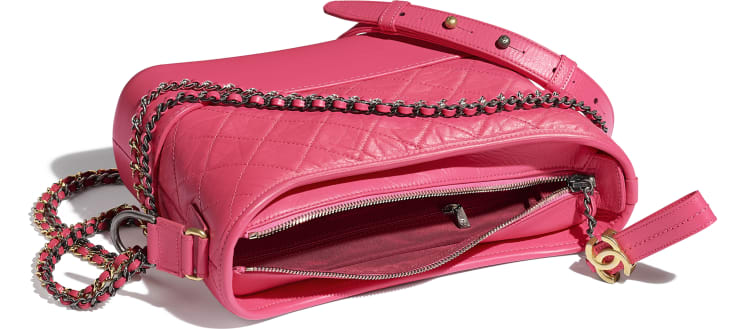 image 3 - CHANEL'S GABRIELLE Hobo Bag - Aged Calfskin, Smooth Calfskin, Gold-Tone, Silver-Tone & Ruthenium-Finish Metal - Pink