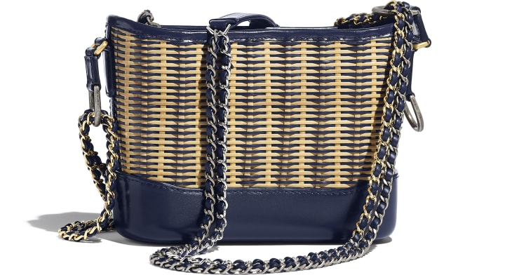 image 2 - CHANEL'S GABRIELLE Small Hobo Bag - Rattan, Calfskin, Gold-Tone & Silver-Tone Metal - Beige & Navy Blue