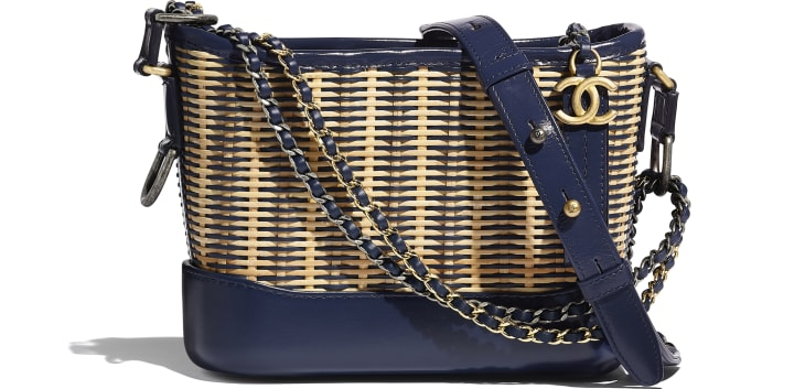 image 1 - CHANEL'S GABRIELLE Small Hobo Bag - Rattan, Calfskin, Gold-Tone & Silver-Tone Metal - Beige & Navy Blue