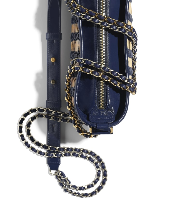 image 4 - CHANEL'S GABRIELLE Small Hobo Bag - Rattan, Calfskin, Gold-Tone & Silver-Tone Metal - Beige & Navy Blue