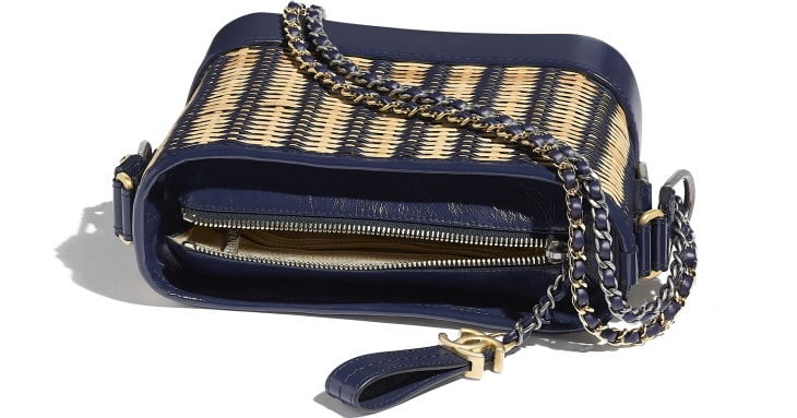 image 3 - CHANEL'S GABRIELLE Small Hobo Bag - Rattan, Calfskin, Gold-Tone & Silver-Tone Metal - Beige & Navy Blue