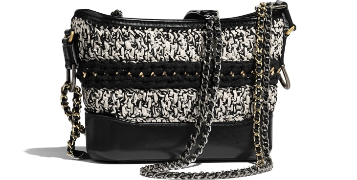 image 2 - CHANEL'S GABRIELLE  Small Hobo Bag - Mixed Fibers, Calfskin, Gold-Tone, Silver-Tone & Ruthenium-Finish Metal - Black & White