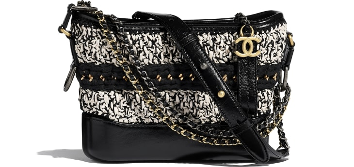 image 1 - CHANEL'S GABRIELLE  Small Hobo Bag - Mixed Fibers, Calfskin, Gold-Tone, Silver-Tone & Ruthenium-Finish Metal - Black & White
