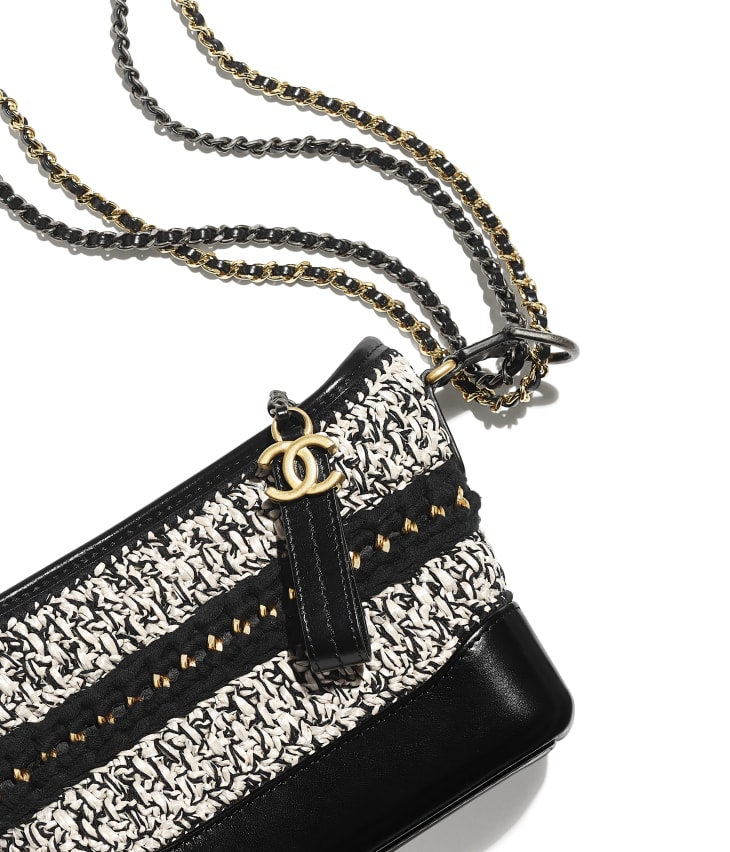 image 4 - CHANEL'S GABRIELLE  Small Hobo Bag - Mixed Fibers, Calfskin, Gold-Tone, Silver-Tone & Ruthenium-Finish Metal - Black & White