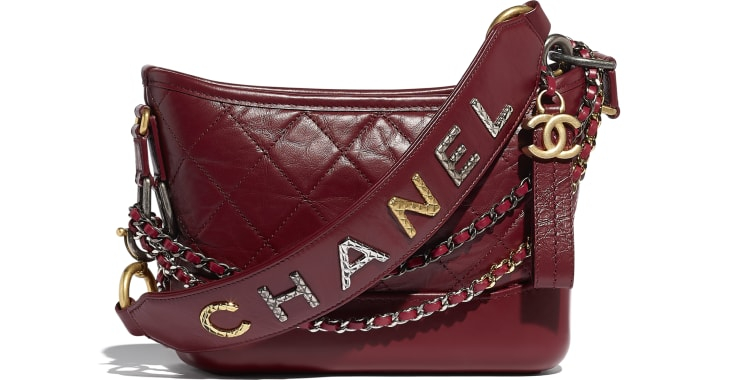 image 1 - CHANEL'S GABRIELLE  Small Hobo Bag - Aged Calfskin, Smooth Calfskin, Gold-Tone, Silver-Tone & Ruthenium-Finish Metal - Burgundy