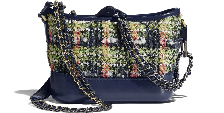image 2 - CHANEL'S GABRIELLE  Small Hobo Bag - Tweed, Calfskin, Gold-Tone, Silver-Tone & Ruthenium-Finish Metal - Navy Blue, Green, Pink & White