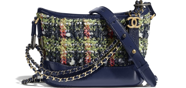 image 1 - CHANEL'S GABRIELLE  Small Hobo Bag - Tweed, Calfskin, Gold-Tone, Silver-Tone & Ruthenium-Finish Metal - Navy Blue, Green, Pink & White