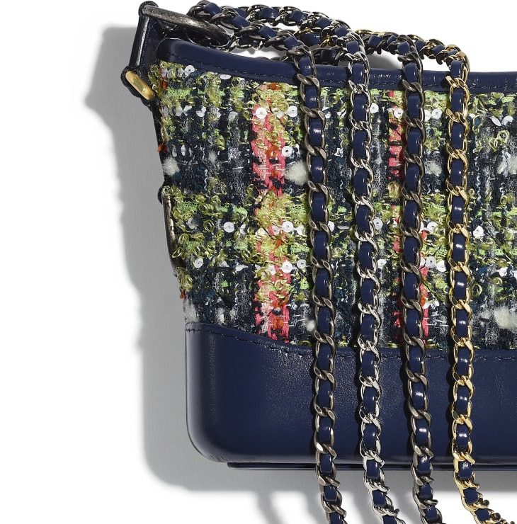 image 4 - CHANEL'S GABRIELLE  Small Hobo Bag - Tweed, Calfskin, Gold-Tone, Silver-Tone & Ruthenium-Finish Metal - Navy Blue, Green, Pink & White