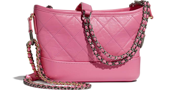 image 2 - CHANEL'S GABRIELLE  Small Hobo Bag - Aged Calfskin, Smooth Calfskin, Gold-Tone, Silver-Tone & Ruthenium-Finish Metal - Pink