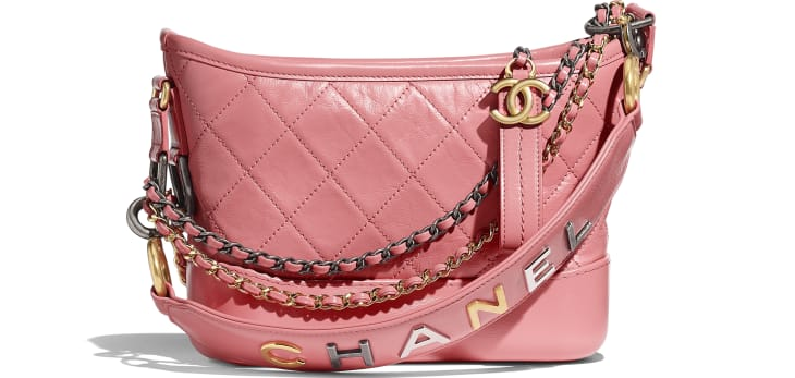 image 1 - CHANEL'S GABRIELLE  Small Hobo Bag - Aged Calfskin, Smooth Calfskin, Gold-Tone, Silver-Tone & Ruthenium-Finish Metal - Pink