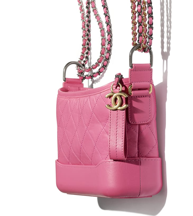 image 4 - CHANEL'S GABRIELLE  Small Hobo Bag - Aged Calfskin, Smooth Calfskin, Gold-Tone, Silver-Tone & Ruthenium-Finish Metal - Pink