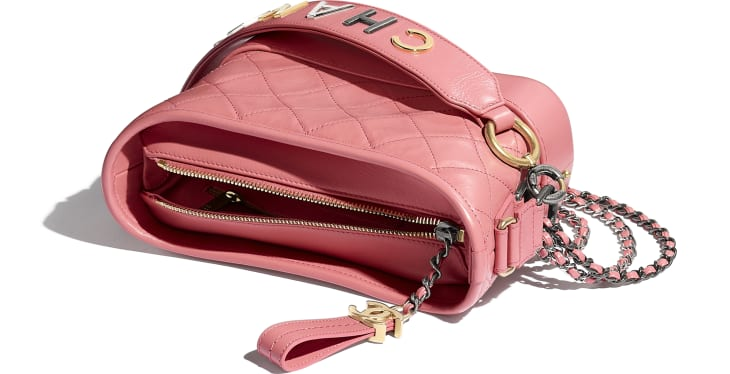 image 3 - CHANEL'S GABRIELLE  Small Hobo Bag - Aged Calfskin, Smooth Calfskin, Gold-Tone, Silver-Tone & Ruthenium-Finish Metal - Pink