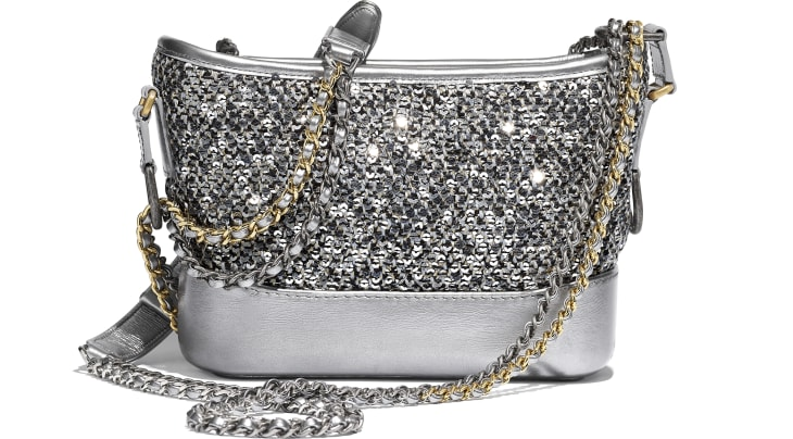 image 2 - CHANEL'S GABRIELLE  Small Hobo Bag - Tweed, Sequins, Calfskin, Gold-Tone, Silver-Tone & Ruthenium-Finish Metal - Silver, Black & Gold
