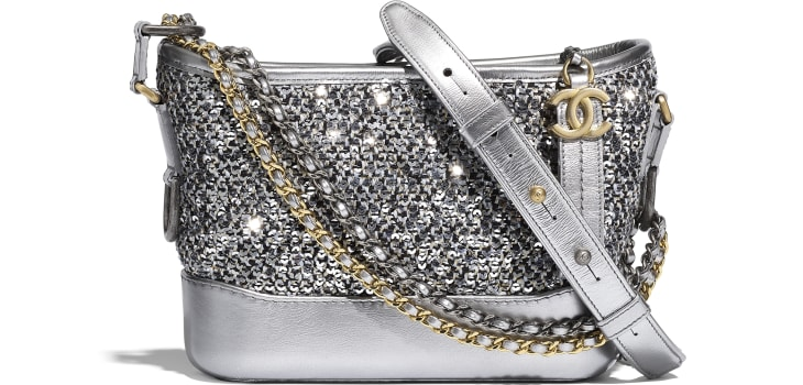 image 1 - CHANEL'S GABRIELLE  Small Hobo Bag - Tweed, Sequins, Calfskin, Gold-Tone, Silver-Tone & Ruthenium-Finish Metal - Silver, Black & Gold