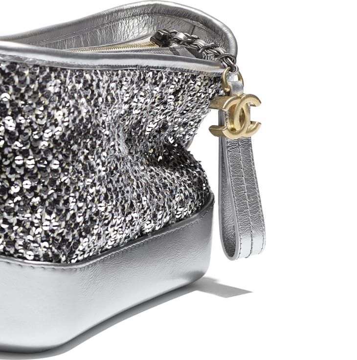 image 4 - CHANEL'S GABRIELLE  Small Hobo Bag - Tweed, Sequins, Calfskin, Gold-Tone, Silver-Tone & Ruthenium-Finish Metal - Silver, Black & Gold