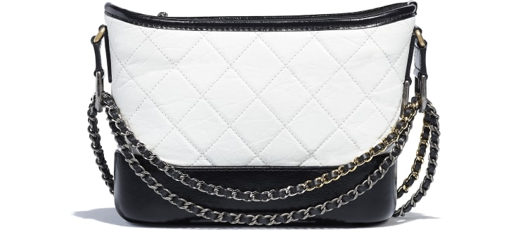 image 2 - CHANEL'S GABRIELLE Small Hobo Bag - Aged Calfskin, Smooth Calfskin, Gold-Tone, Silver-Tone & Ruthenium-Finish Metal - White & Black