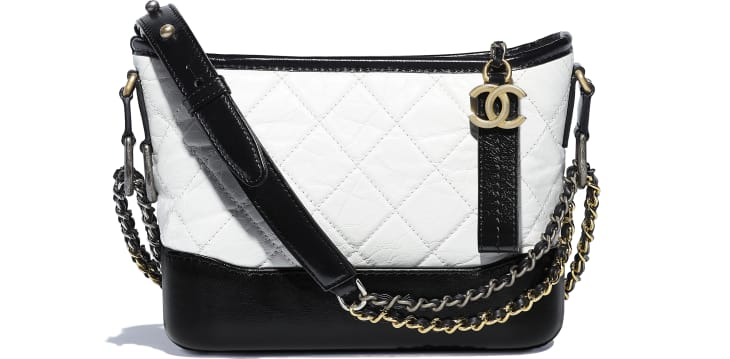 image 1 - CHANEL'S GABRIELLE Small Hobo Bag - Aged Calfskin, Smooth Calfskin, Gold-Tone, Silver-Tone & Ruthenium-Finish Metal - White & Black