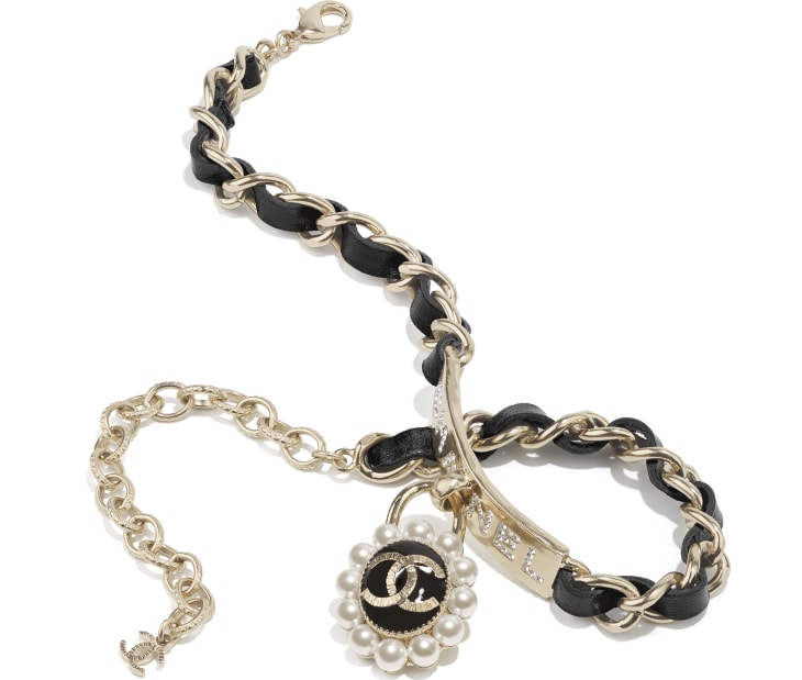 image 2 - Choker - Metal, Calfskin, Glass Pearls & Strass - Gold, Black, Pearly White & Crystal
