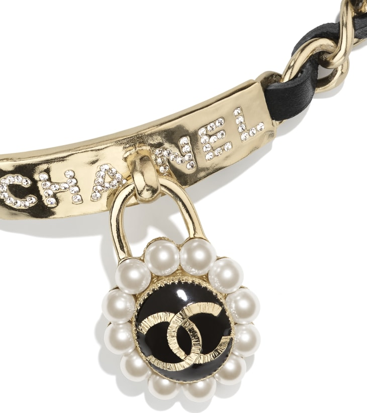image 3 - Choker - Metal, Calfskin, Glass Pearls & Strass - Gold, Black, Pearly White & Crystal