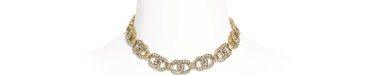 image 1 - Choker - Metal & Diamantés - Gold & Crystal