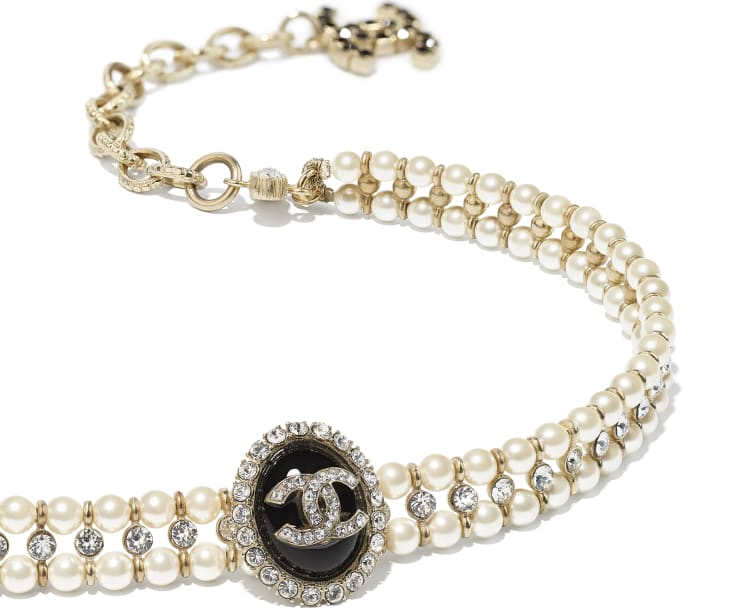 image 2 - Choker - Metal, Glass Pearls, Strass & Resin - Gold, Pearly White, Crystal & Black