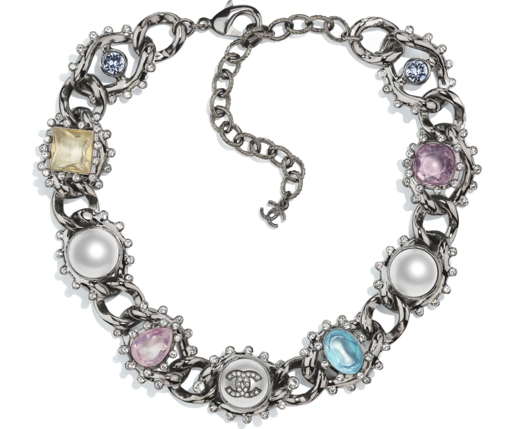 image 1 - Choker - Metal, Imitation Pearls & Strass - Ruthenium, Pearly White, Multicolor & Crystal