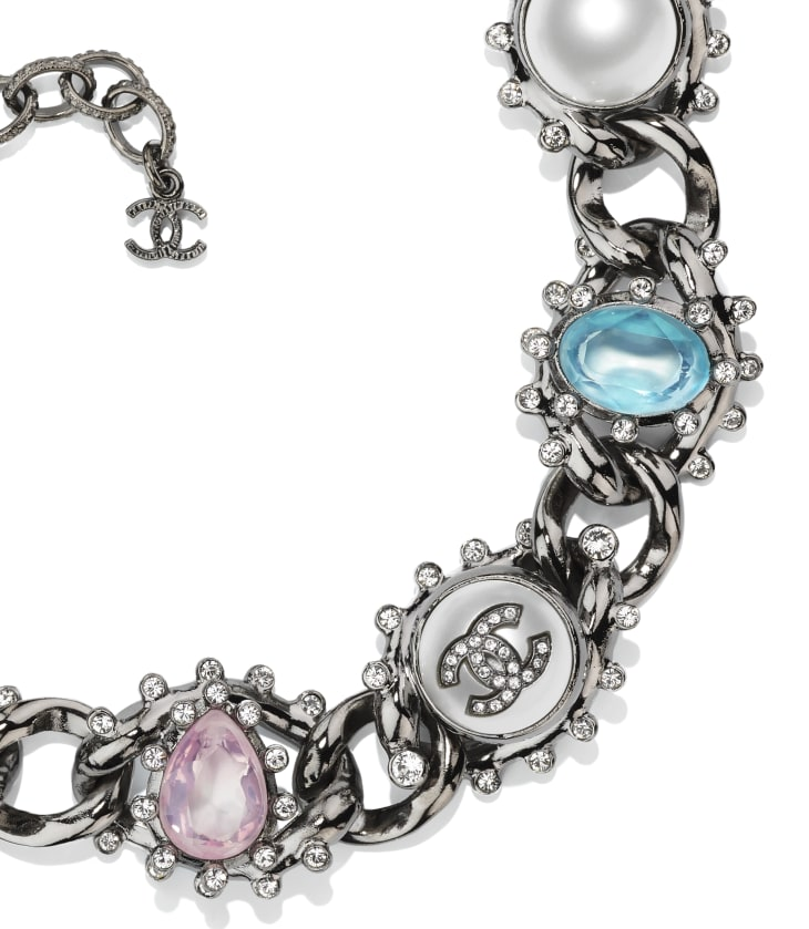 image 3 - Choker - Metal, Imitation Pearls & Strass - Ruthenium, Pearly White, Multicolor & Crystal