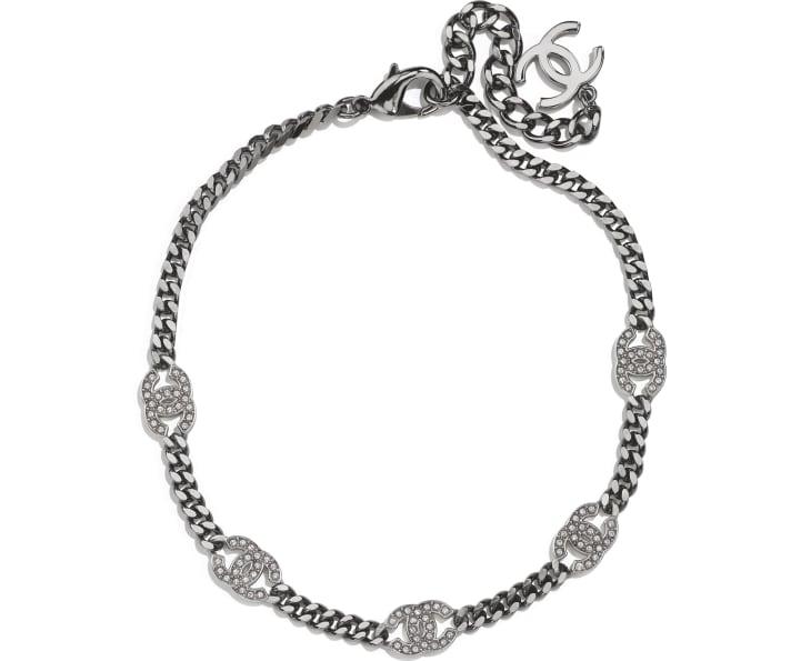 image 1 - Choker - Metal & Strass - Ruthenium, Silver & Crystal