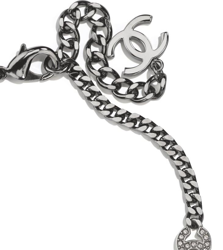 image 3 - Choker - Metal & Strass - Ruthenium, Silver & Crystal