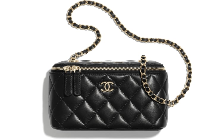 image 1 - Classic Box with Chain - Lambskin & Gold-Tone Metal - Black