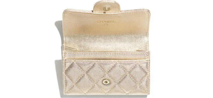 image 2 - Classic Card Holder - Metallic Lambskin & Gold Metal - Gold