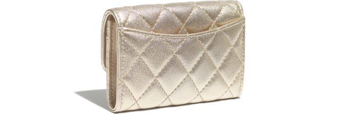 image 4 - Classic Card Holder - Metallic Lambskin & Gold Metal - Gold