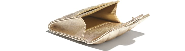 image 3 - Classic Card Holder - Metallic Lambskin & Gold Metal - Gold