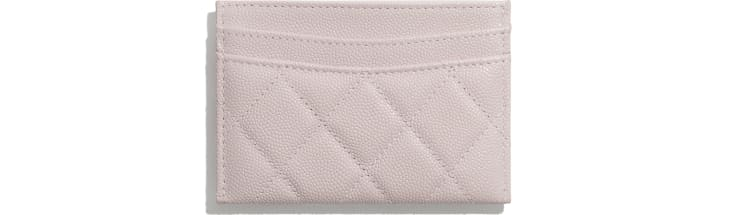 image 2 - Classic Card Holder - Grained Calfskin & Gold-Tone Metal - Light Pink