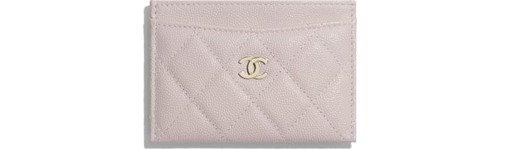 image 1 - Classic Card Holder - Grained Calfskin & Gold-Tone Metal - Light Pink