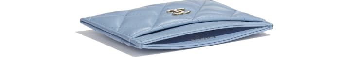 image 4 - Classic Card Holder - Lambskin & Gold-Tone Metal - Sky Blue