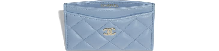 image 3 - Classic Card Holder - Lambskin & Gold-Tone Metal - Sky Blue