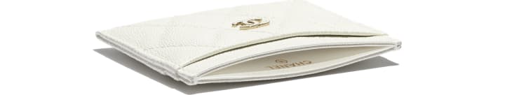 image 4 - Classic Card Holder - Grained Calfskin & Gold-Tone Metal - White
