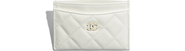 image 3 - Classic Card Holder - Grained Calfskin & Gold-Tone Metal - White