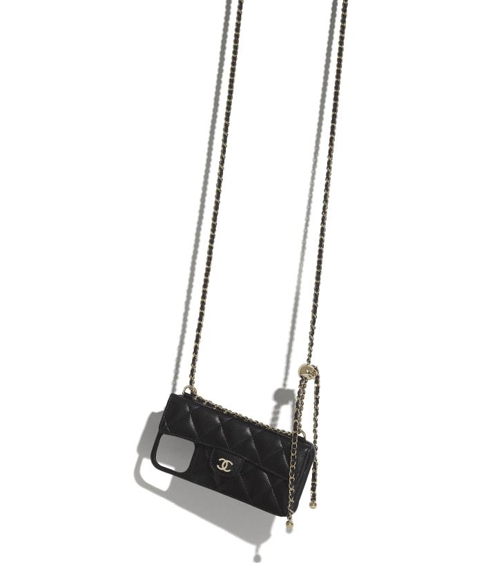 image 3 - Étui classique pour iPhone XII Pro MAX avec chaîne - Agneau & métal doré - Noir