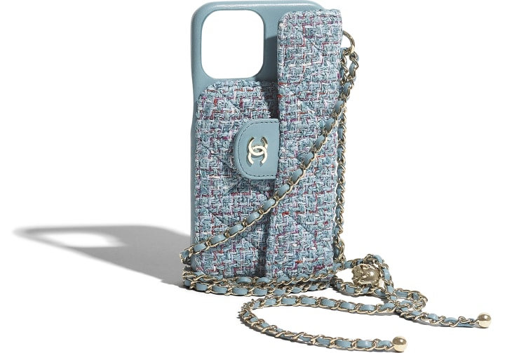 image 4 - Classic Case for iPhone XII Pro MAX with chain - Tweed & Gold Metal - Turquoise, Purple, White & Red