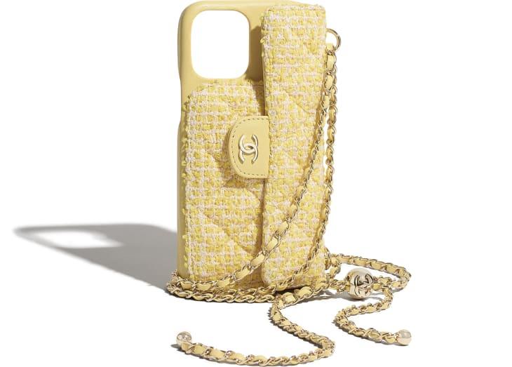 image 4 - Étui classique pour iPhone XII Pro MAX avec chaîne - Tweed & métal doré - Jaune & rose