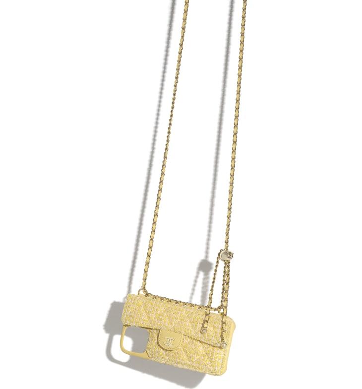 image 3 - Étui classique pour iPhone XII Pro MAX avec chaîne - Tweed & métal doré - Jaune & rose