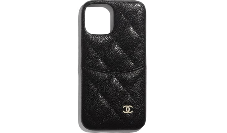image 1 - Classic Case for iPhone XII/XII Pro - Grained Calfskin & Shiny Gold Metal - ブラック