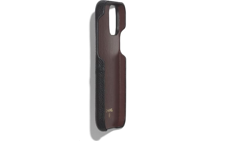 image 3 - Classic Case for iPhone XII/XII Pro - Grained Lambskin & Gold-Tone Metal - Black