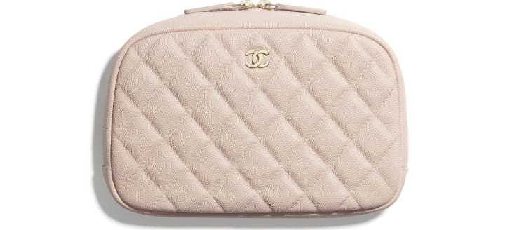 image 1 - Classic Case - Grained Shiny Calfskin & Gold-Tone Metal - Pale Pink